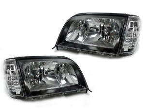 DEPO Euro Spec Black/Clear Headlight+Corner for 1992-1999 Mercedes W140 S Class