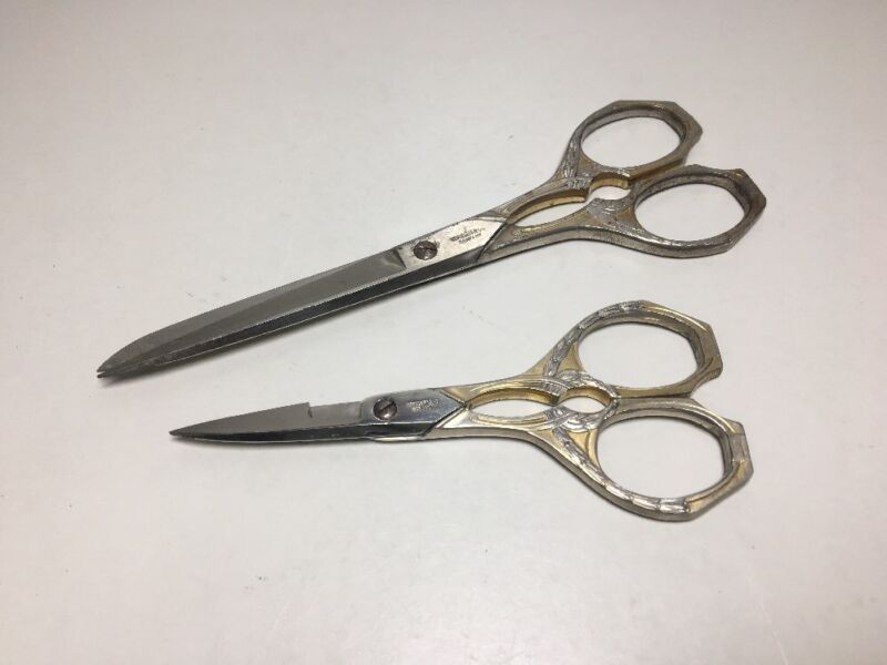 Vom Cleff & Co Scissors & Shears Handled Sewing Fabric Antique Victorian Set Lot