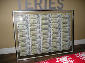 Framed 1973 Uncut 40 $1.00 Bills BFL Series