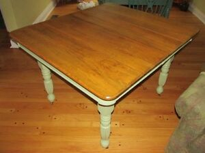 Antique Hard Wood Harvest Dining Table on castors