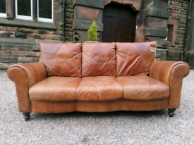 Stunning Leather DFS 3 Seater Sofa & Armchair. Delivery Included.