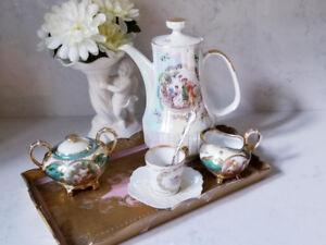 ANTIQUE MIX & MATCH COFFEE SET & ITALIAN FLORENTINE TRAY
