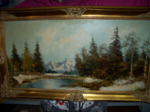 LARGE OIL ON CANVASS PAINTING - FOREST - H. STADLER