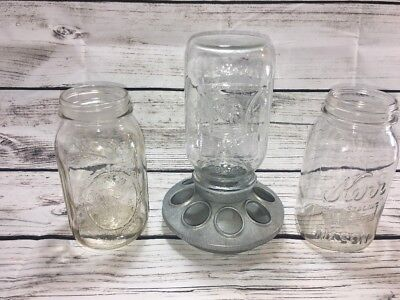 "Mason Jar Garden Bird Feeder Tabletop Galvonized 7"", Liberty Bell, 2 More Jars"