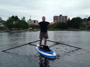 Rowing a stand up paddle board