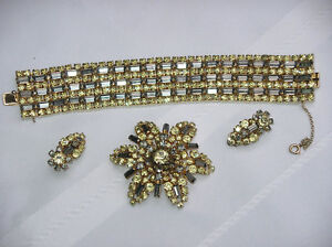 Sherman bracelet, brooch & earrings vintage jewellry