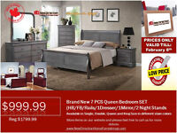 ◆Brand New 7pcs Wood Bedroom Set on Sale@New Direction Home