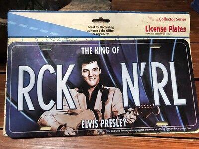 Elvis Presley The King of RCK N'RL Metal License Plate NOS New 2000s Rock N Roll