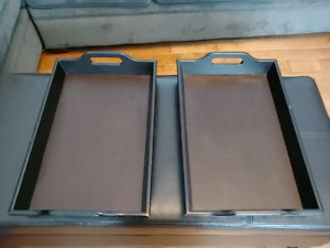 *Large Leather and wood serving trays*