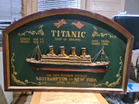 Titanic 3D picture cruise ship orginal antique wood sign hand made