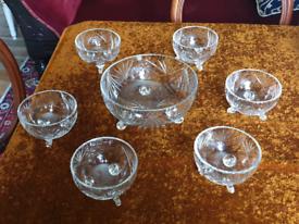 Antique Vintage cut glass serving & matching dessert bowl x 6 set