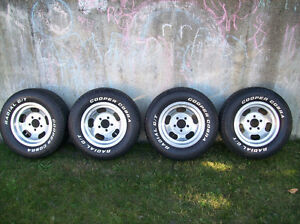 Classic muscle car wheels and tires, unilug 5 bolt - $300 vernon