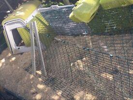 Green Omlet Eglu Go chicken coop with 2 metre run, feeder and drinker