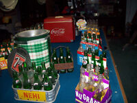 COLLECTION OF 1950's-1960's soda bottles, Coolers, Carriers