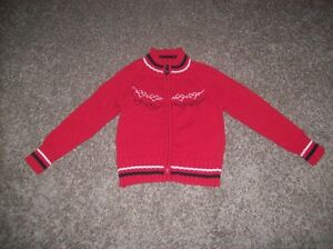 Girls Red Zip Up Sweater Size 4-5