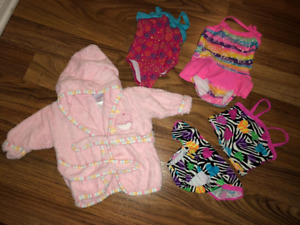 Girls Size 0-3 Bathing Suits & Robe