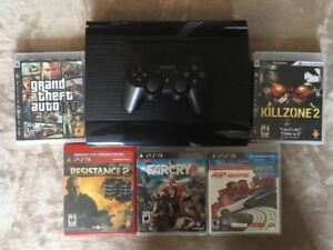 PlayStation PS3 Slim 500gb CECH-4301C 5 Games Controller HDMI GT
