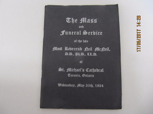 VintageFuneralMassService Program Of Archbishop Neil McNeil 1934