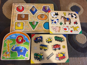 Shape matching wooden toys