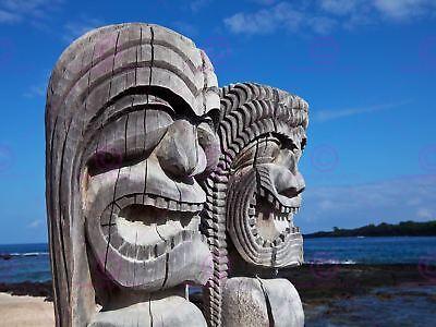 Hot Heads Tiki Lava Hawaiian Island Art Taboo Kitsch Painting CBjork PRINT