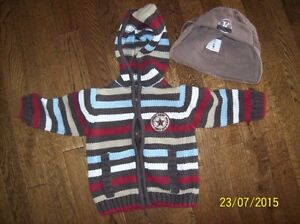 Cherokee Sweater, 18-24 months & Cord Hat