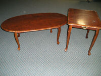 Set of 3 Tables and Wicker Chair