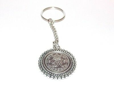 70th Birthday Lucky Keyring - Double Rim effect - Genuine 1948 sixpence