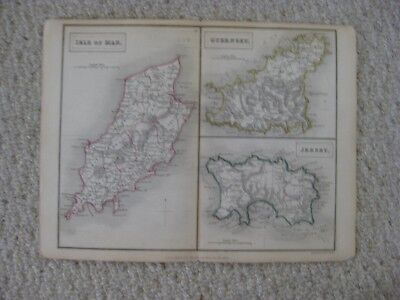 ANTIQUE 1842 ISLE OF MAN GUERNSEY JERSEY ISLAND ISLE ENGLAND HANDCOLORED MAP NR image