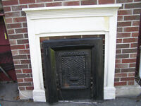 Antique Victorian FirePlace Mantel /Cast Iron Door
