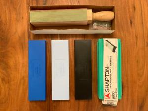 Sharpening Set - Spyderco & Shapton Benchstones w/ Strop
