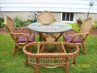 Cane & Glass Patio Set