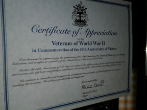 Mayor Mike Hurst -Respects Recognizes World War 11- Certificate