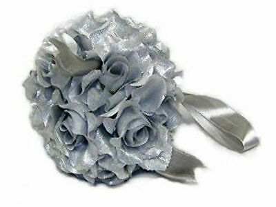 Flower Ball SILVER 25th Anniversary Party Rose Kissing Ball Wedding Centerpieces - 25th Wedding Anniversary Centerpieces