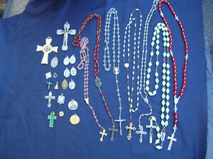 CRUCIFIX ROSARIES Cross Religious Large Lot necklace
