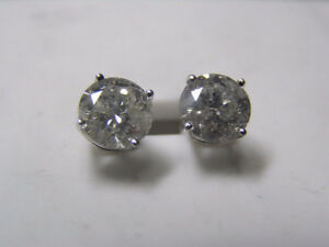 14K White Gold Ladies Diamond Studs Earrings 3KT