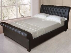 Real Leather Kingsize Bed Frame ( chocolate brown )