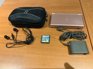 Nintendo DS with headphones, charger, case and SMB game