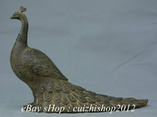"""11"""" Old China Dynasty Bronze Fengshui Bird Peacock Peacocks Peafowl Statue"""