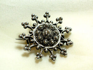 Antique-Sterling Silver Victorian silver filigree circle-brooch