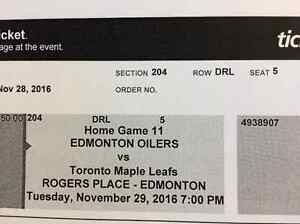 Oilers tickets Vrs Maple Leafs. November 29 Strathcona County Edmonton Area image 1