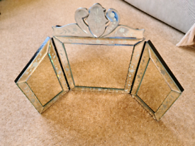 Past times etched glass dressing table mirror