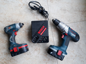 Bosch Cordless Drill, Impact Gun, and 30 minute Charger