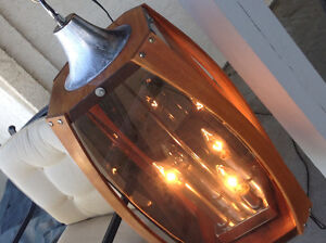 Vintage Danish Design teak & Lucite Hanging Lamp