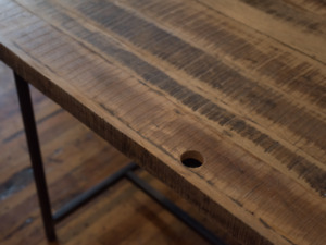 Custom wood desk / table (incl. free leather chair)