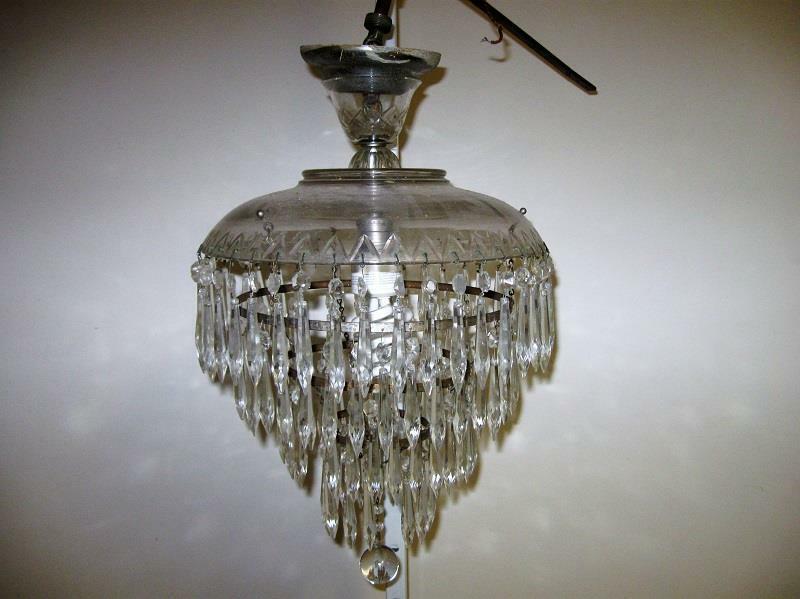 Vintage 1940s 4 Tier Wedding Cake Crystal & Metal Chandelier Layer Antique