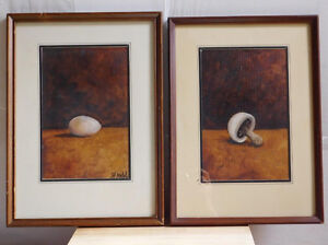 "2 original oil paintings by Fladd, ""Egg"" and ""Mushroom"""