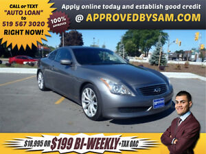 RARE G37 - $199+TAX BI-WEEKLY OAC - APPLY @ APPROVEDBYSAM.COM