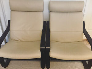 IKEA poang leather chairs