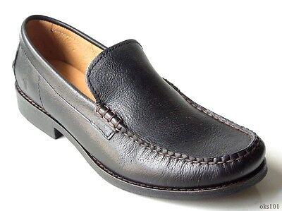 NIB mens FRYE 'Douglas' Venetian Hammered black leather loafers shoes -