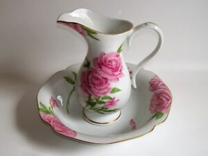 Pichet & Bol 1986 - Givenchy Rose - 1986 Ceramic Pitcher & Bowl